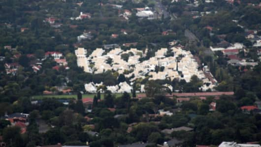 Aerial view of suburbs in Johannesburg, South Africa